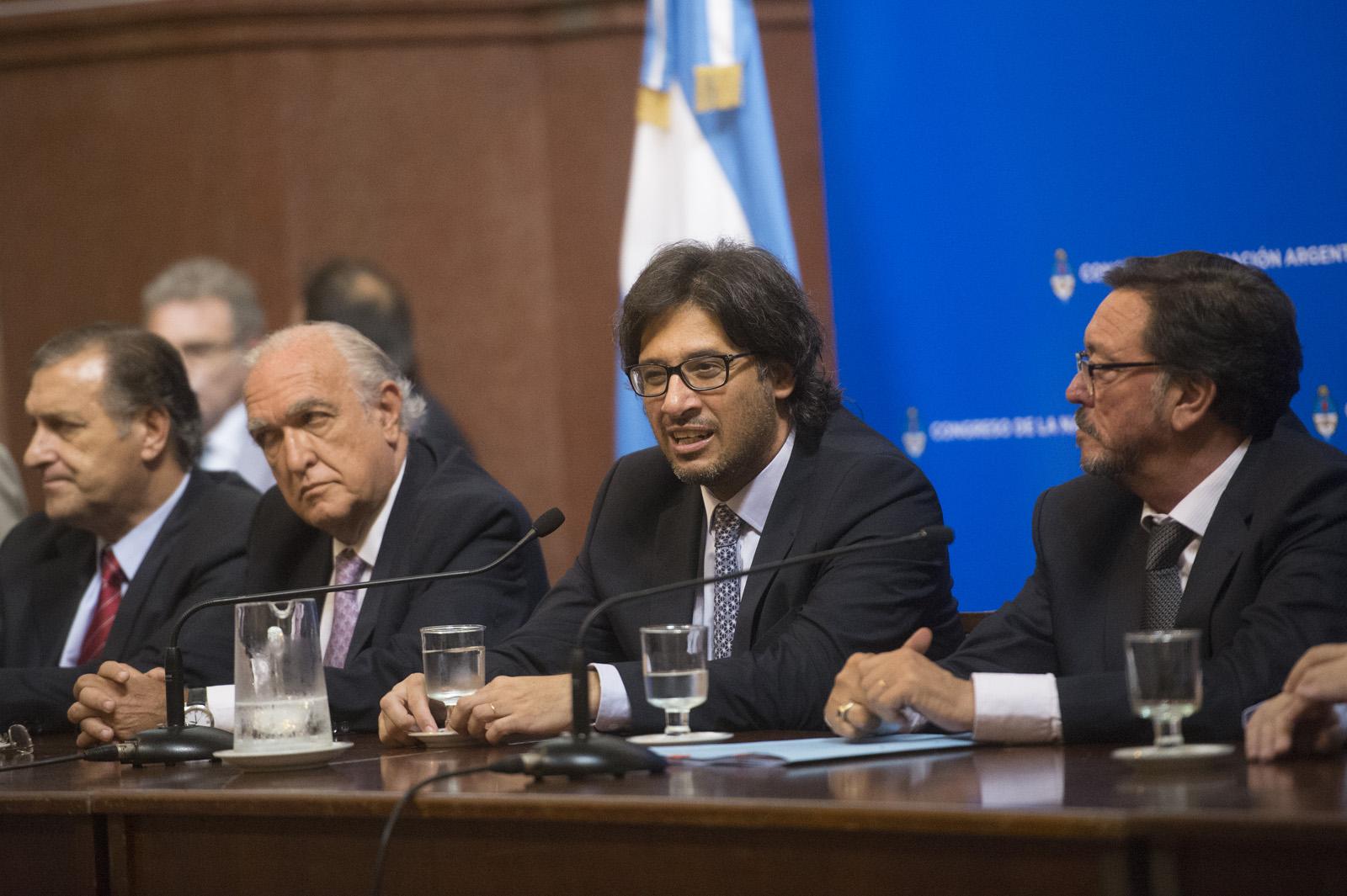 El ministro Germán Garavano durante la exposición.