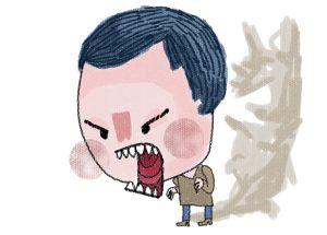 Dibujo de hombre en actitud violenta