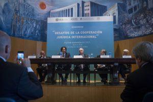 Apertura del congreso 'Desafíos de la Cooperación Jurídica Internacional' en Facultad de Derecho UBA, con Germán Garavano, Jorge Morán, Ricardo Lorensetti, Luis Almagro y Mónica Pinto.